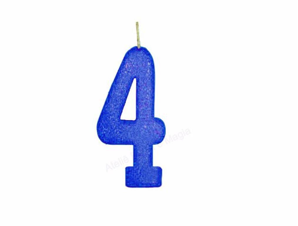 vela de aniversário azul número 4 (1 unidade)
