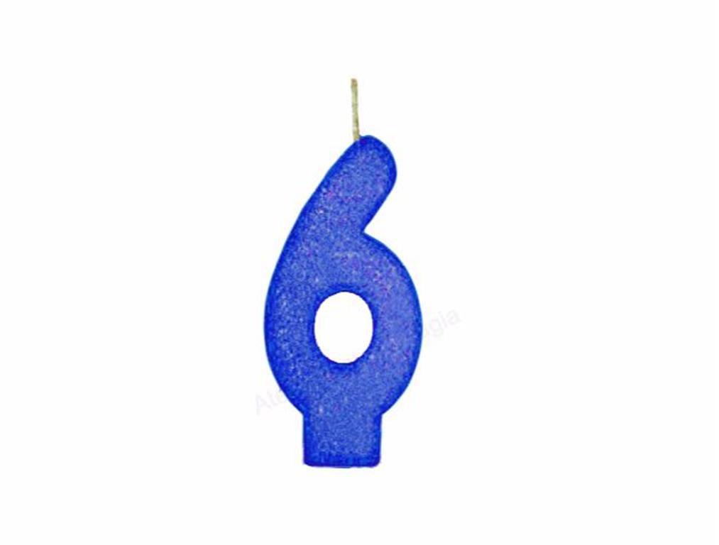 vela de aniversário azul número 6 (1 unidade)