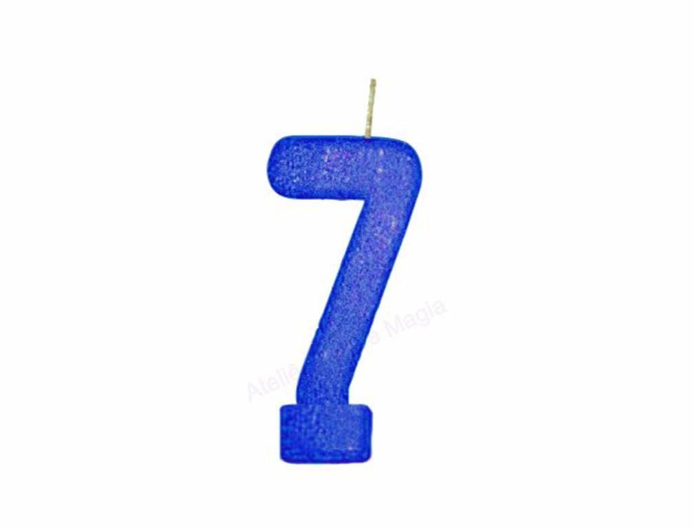 vela de aniversário azul número 7 (1 unidade)
