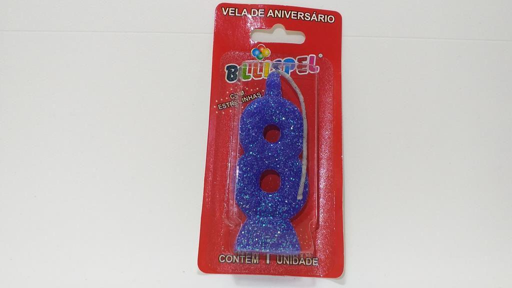 vela de aniversário azul número 8 (1 unidade)