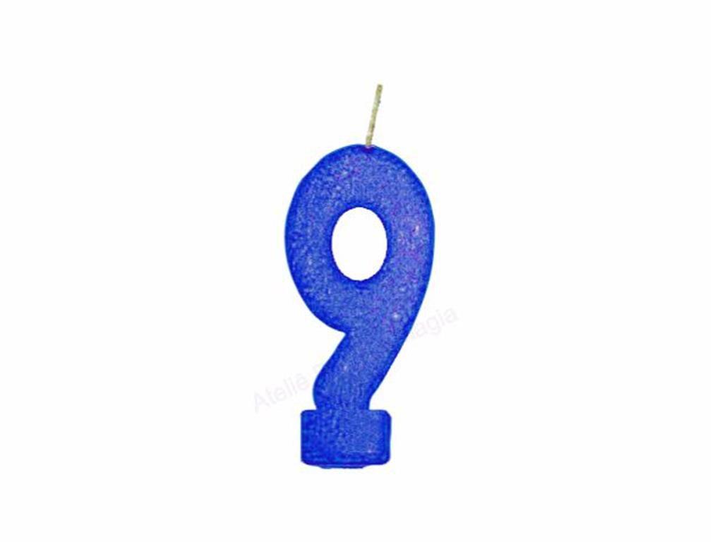 vela de aniversário azul número 9 (1 unidade)