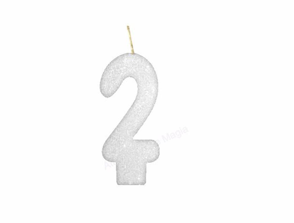 vela de aniversário branca número 2 (1 unidade)