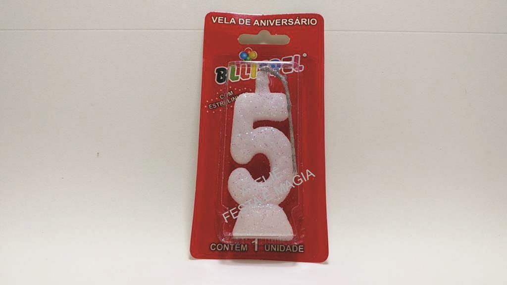 vela de aniversário branca número 5 (1 unidade)