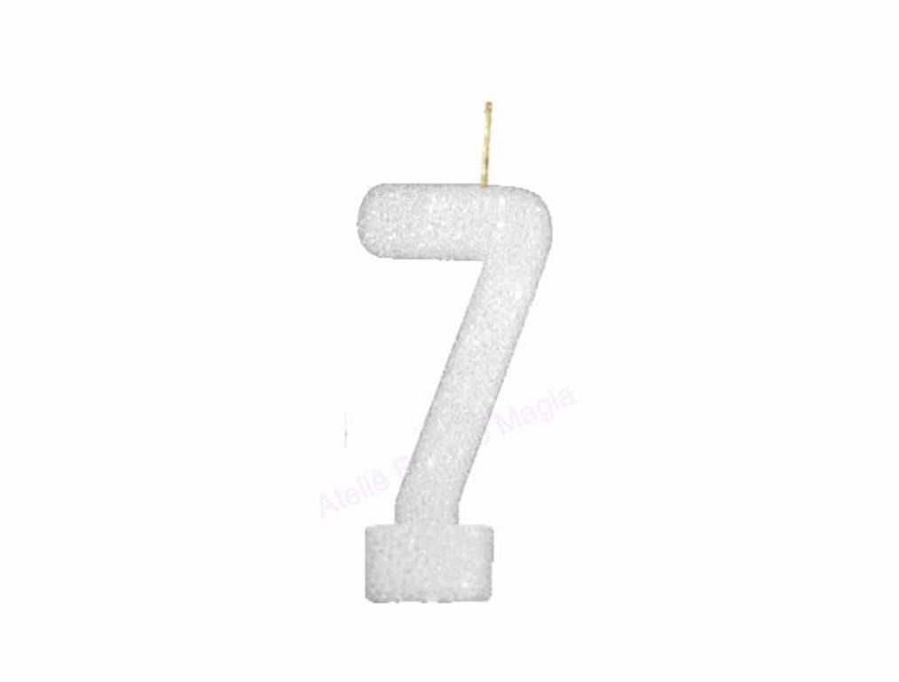 vela de aniversário branca número 7 (1 unidade)