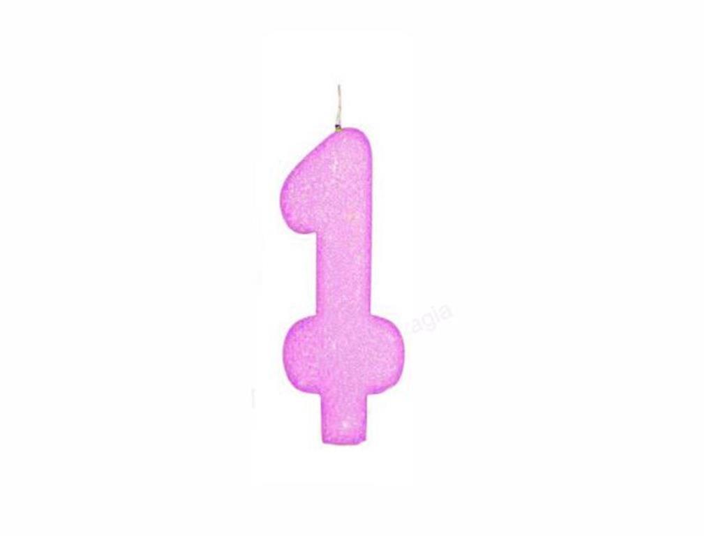 vela de aniversário pink número 1 (1 unidade)