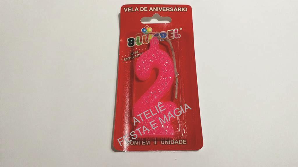 vela de aniversário pink número 2 (1 unidade)