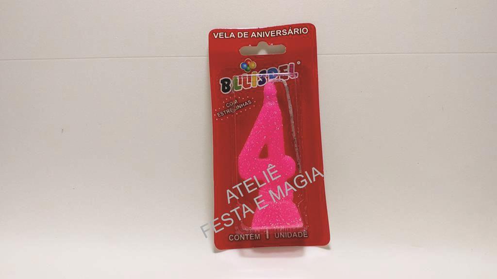 vela de aniversário pink número 4 (1 unidade)
