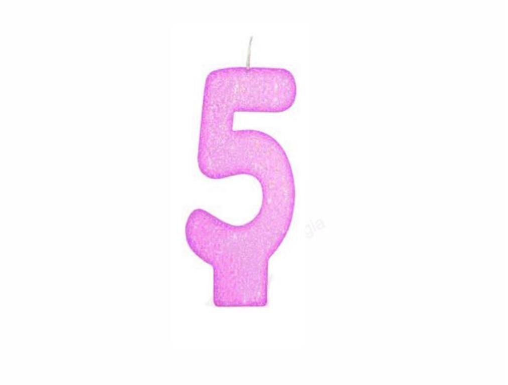 vela de aniversário pink número 5 (1 unidade)