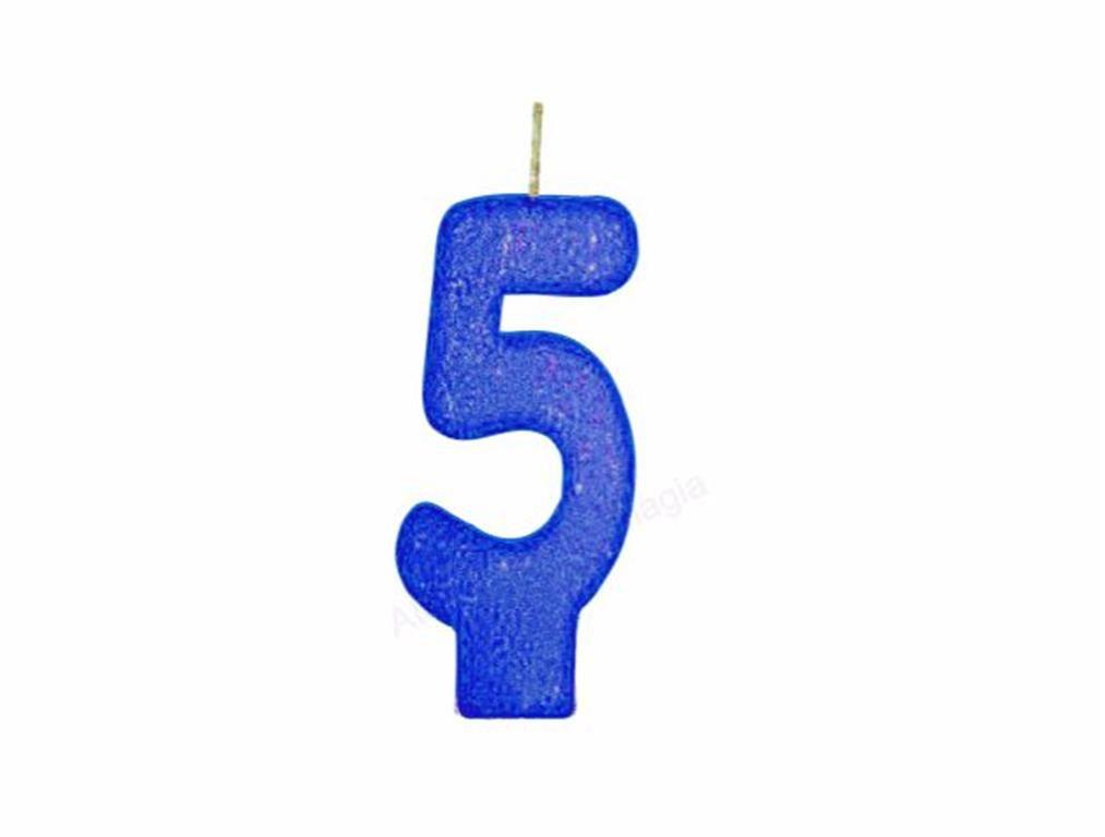 vela de aniversário azul número 5 (1 unidade)