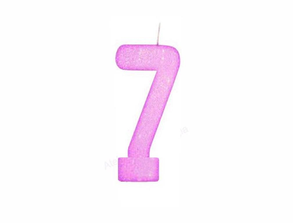 vela de aniversário pink número 7 (1 unidade)