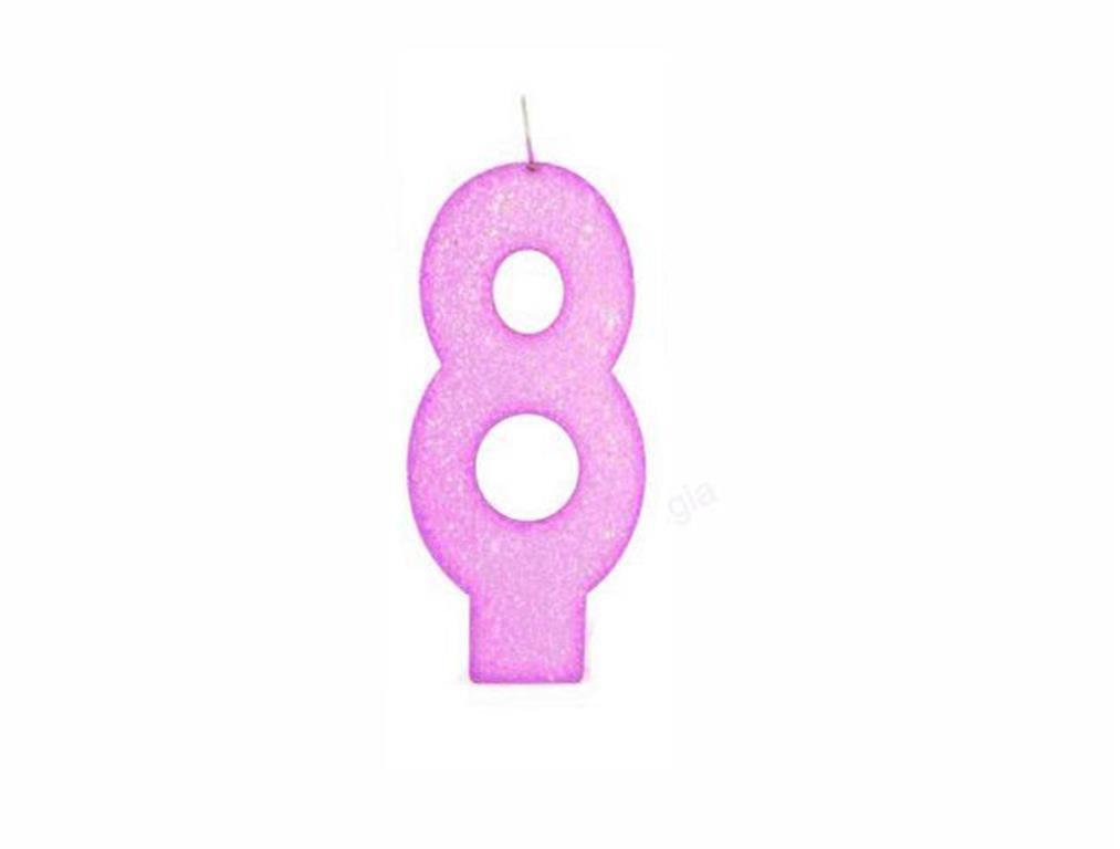 vela de aniversário pink número 8 (1 unidade)