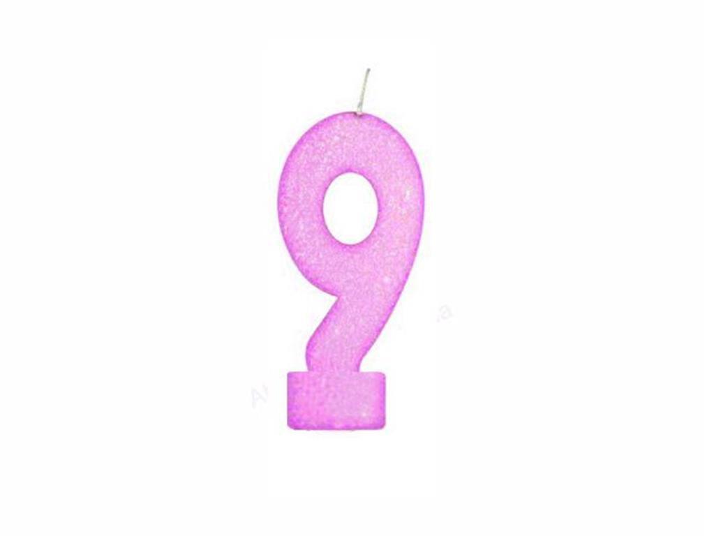 vela de aniversário pink número 9 (1 unidade)