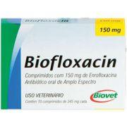 Antibiótico Biofloxacin Biovet 150 mg 10 Comprimidos