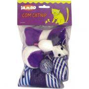 Brinquedo Jambo Ratinhos Coloridos para Gatos - 6 Unidades