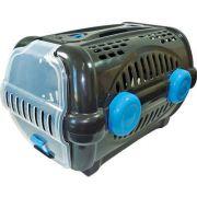 Caixa de Transporte Furacão Pet Luxo - Preto com Azul