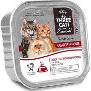 Patê Hercosul Three Cats Paladar Exigente Carne para Gatos Adultos 90 g