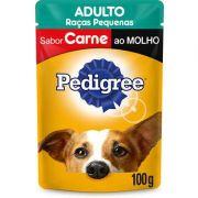 Ração Úmida Pedigree Sachê Carne ao Molho Cães Adultos de Raças Pequenas 100 g