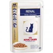 Ração Úmida Royal Canin Sachê Feline Veterinary Diet Renal Frango para Gatos com Doença nos Rins - 85g