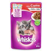 Ração Úmida Whiskas Sachê Carne ao Molho para Gatos Filhotes