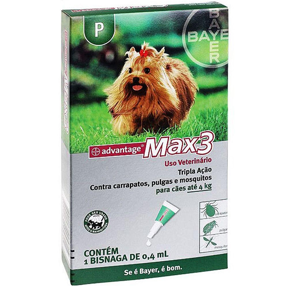 Antipulgas e Carrapatos Bayer Advantage MAX3 para Cães Até 4 Kg - 0,4 mL