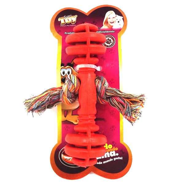Brinquedo Furacão Pet Halteres Maciço de Borracha com Corda