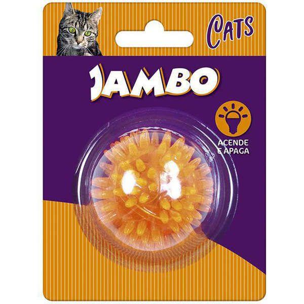 Brinquedo Jambo Bola Espinho Acende e Apaga Laranja para Gatos