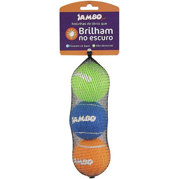 Brinquedo Jambo Bolinhas de Tênis Fluorescente com 3 Unidades