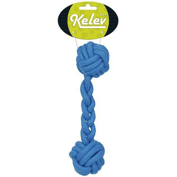 Brinquedo Jambo Mordedor Corda Osso Azul Kelev