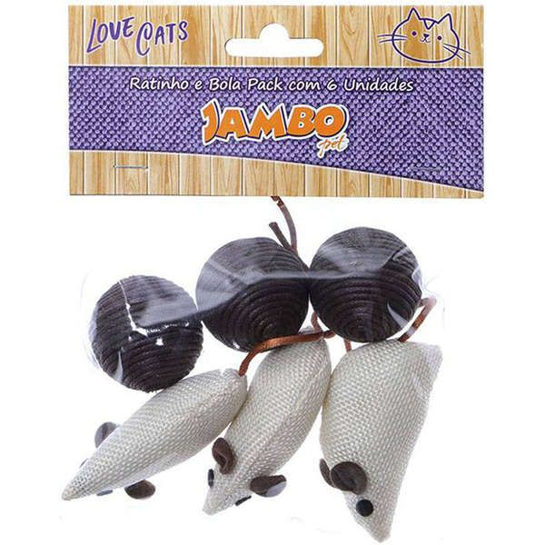 Brinquedo Jambo Ratinho e Bola Pack Marrom