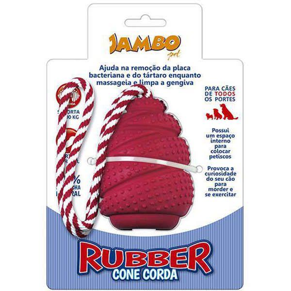 Brinquedo Jambo Rubber Cone com Corda Vermelho