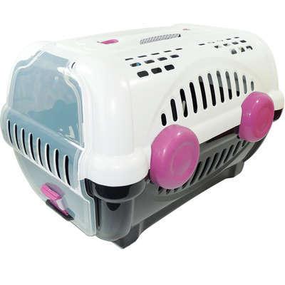 Caixa de Transporte Furacão Pet Luxo Branco e Rosa
