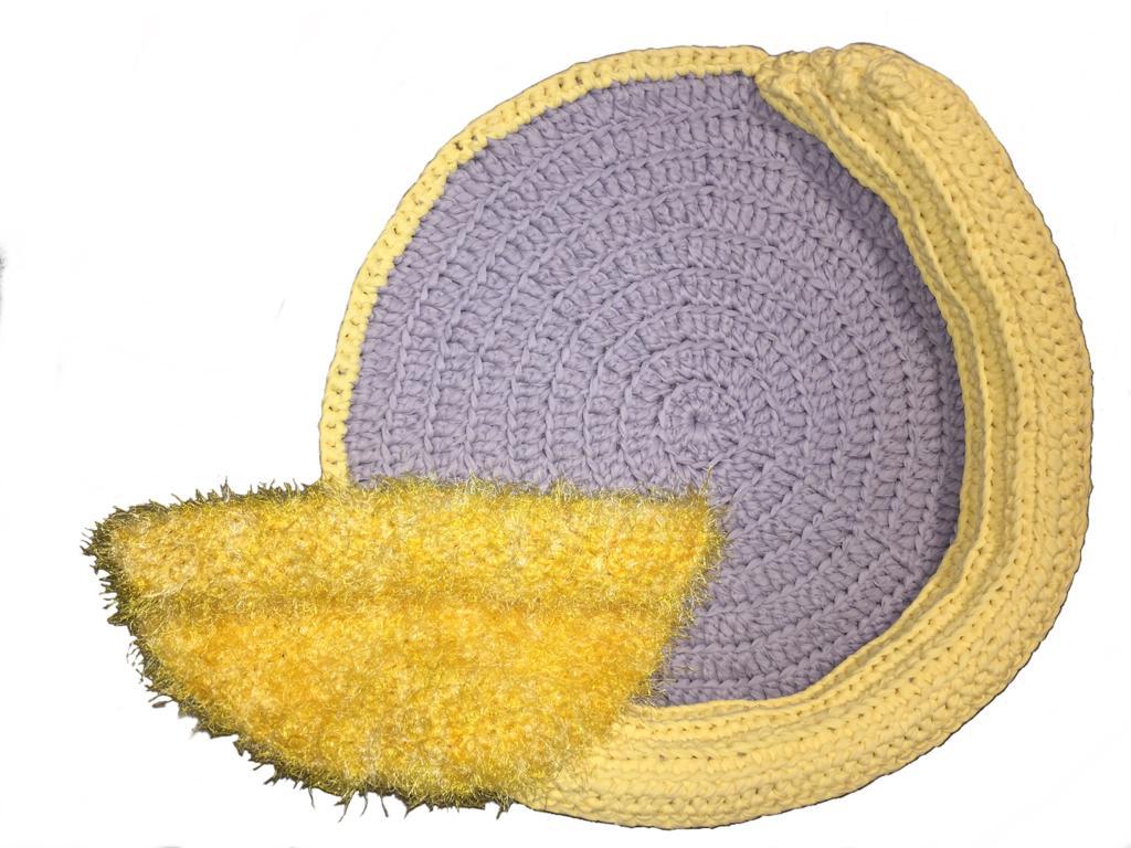 Cama Bicho Preguiça Pet Crochê Lelah Amarela até 13 kg