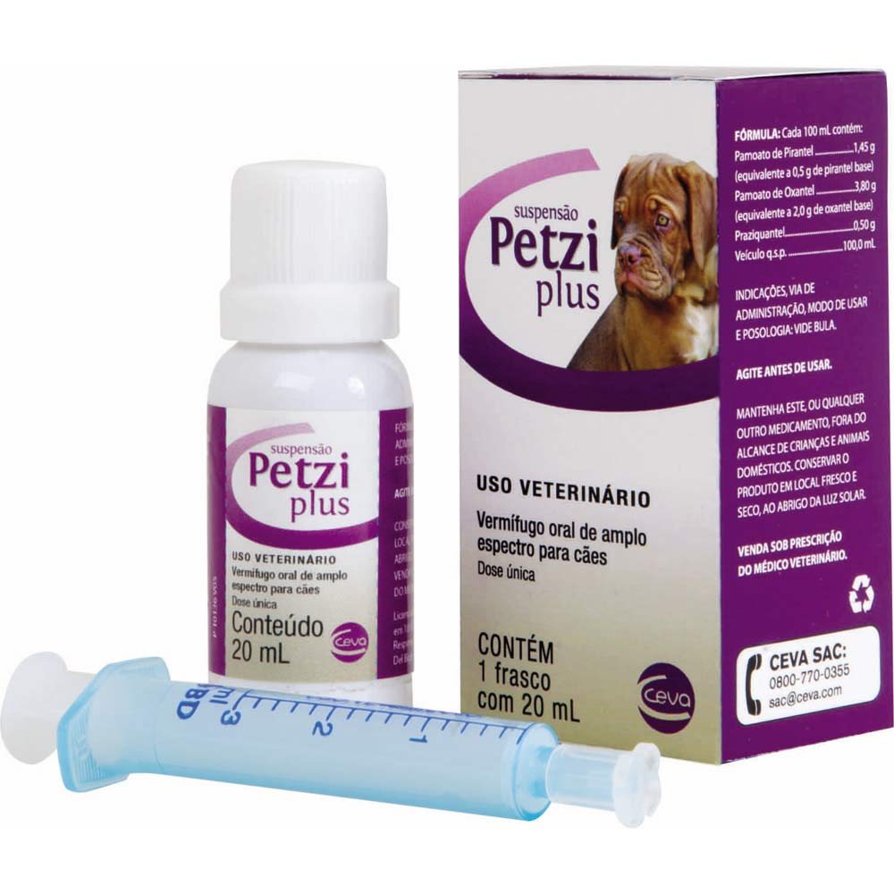 Vermífugo Ceva Petzi Plus Suspensão 20 ml