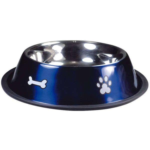Comedouro Jambo Inox Anti Derrapante Azul para Gatos