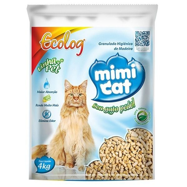 Ecolog Mimi Cat Granulado Sanitário de Madeira para Gatos