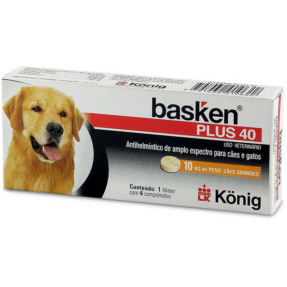 Antiparasitário Basken Plus 40 - 4 comprimidos