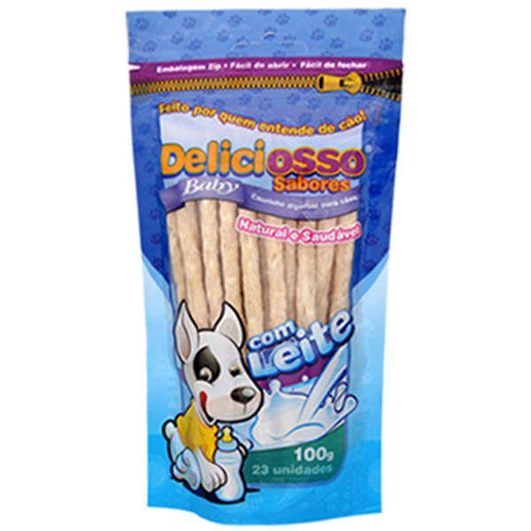Osso Deliciosso Baby Palito Fino Leite para Cães Filhotes - 100 g