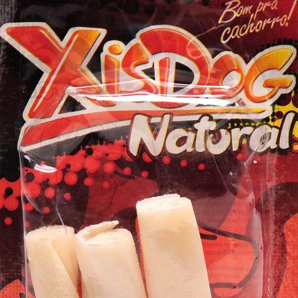 Osso XisDog Natural Enrolado Médio - 3 Unidades