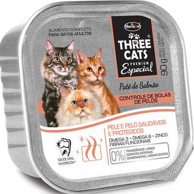 Ração Úmida Hercosul Three Cats Patê Salmão Controle de Bola de Pelos para Gatos Adultos - 90 g