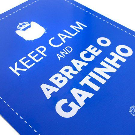 CatMyPet Placa Decorativa Azul - Keep Calm e Abrace o Gatinho