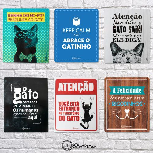 CatMyPet Placa Decorativa Preta - O Gato Comanda
