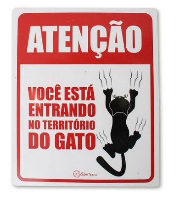 CatMyPet Placa Decorativa - Você está entrando no território do gato