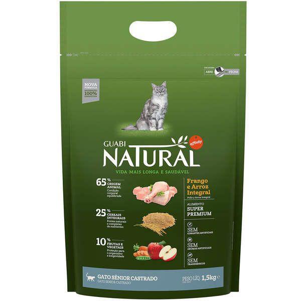 Ração Affinity Guabi Natural Frango e Arroz Integral Gato Sênior Castrado