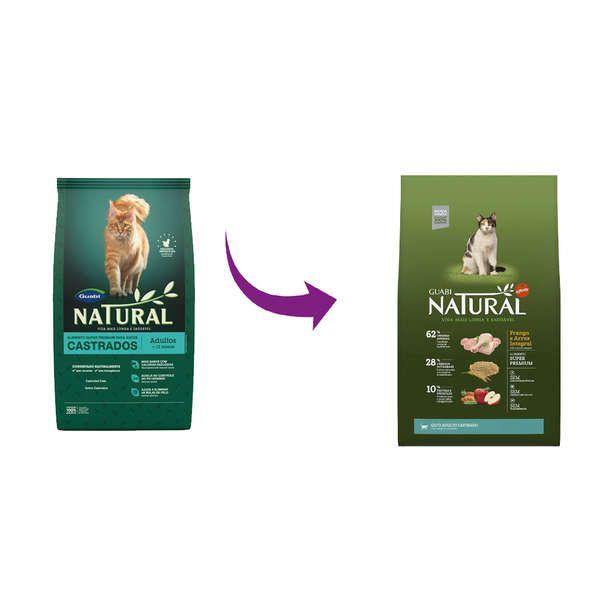 Ração Affinity Guabi Natural Frango e Arroz Integral para Gato Adulto Castrado