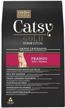 Ração Catsy Gold Premium Especial Frango para Gatos Adultos Castrados