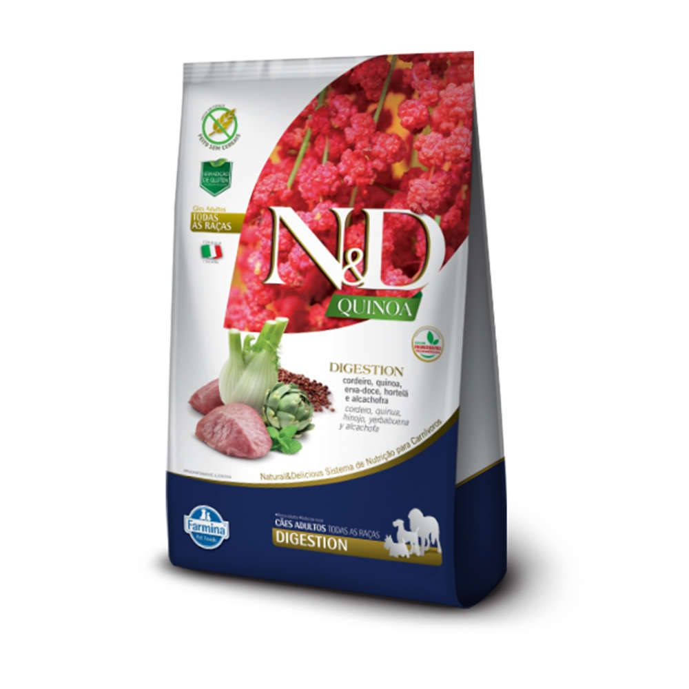 Ração Farmina N&D Quinoa Digestion Cordeiro para Cães Adultos de Todas as Raças