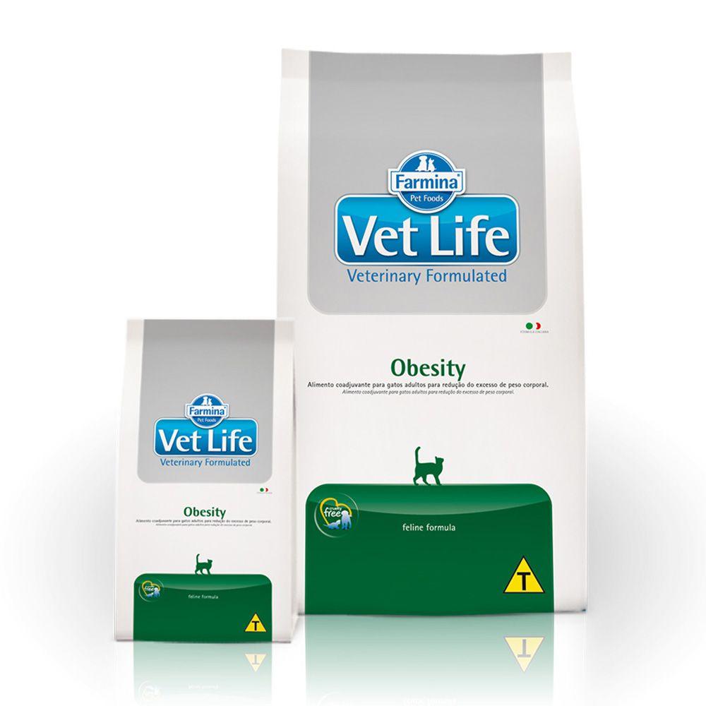 Ração Farmina Vet Life Natural Obesity para Gatos Adultos Obesos