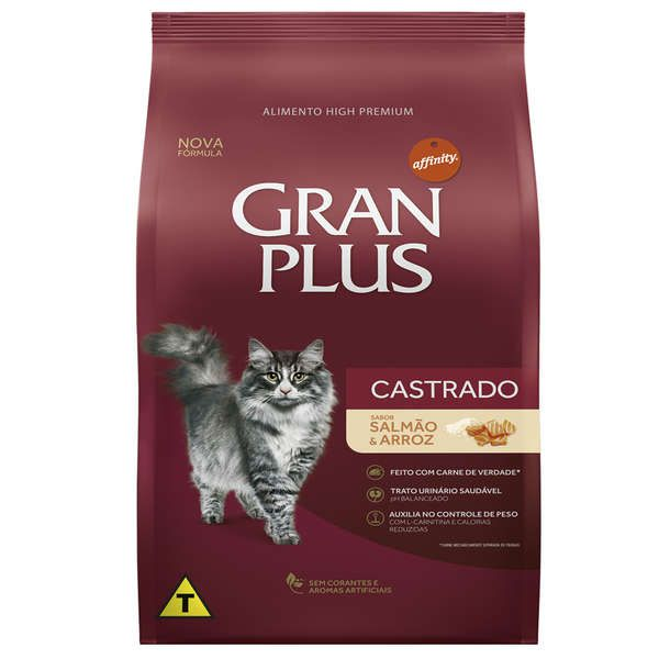 Ração Affinity PetCare Gran Plus Salmão e Arroz para Gatos Castrados Adultos