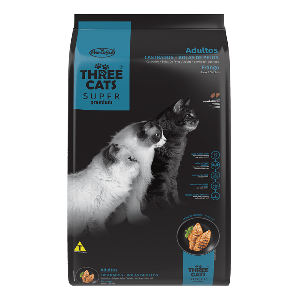 Ração Hercosul Three Cats Especial Salmão para Gatos Adultos