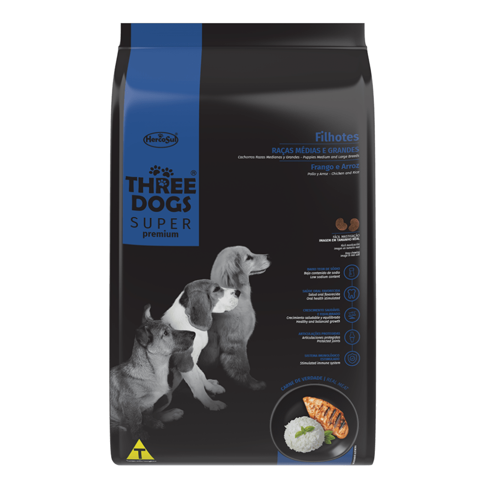 Ração Hercosul Three Dogs Super Premium Frango e Arroz para Cães Filhotes Raças Médias e Grandes